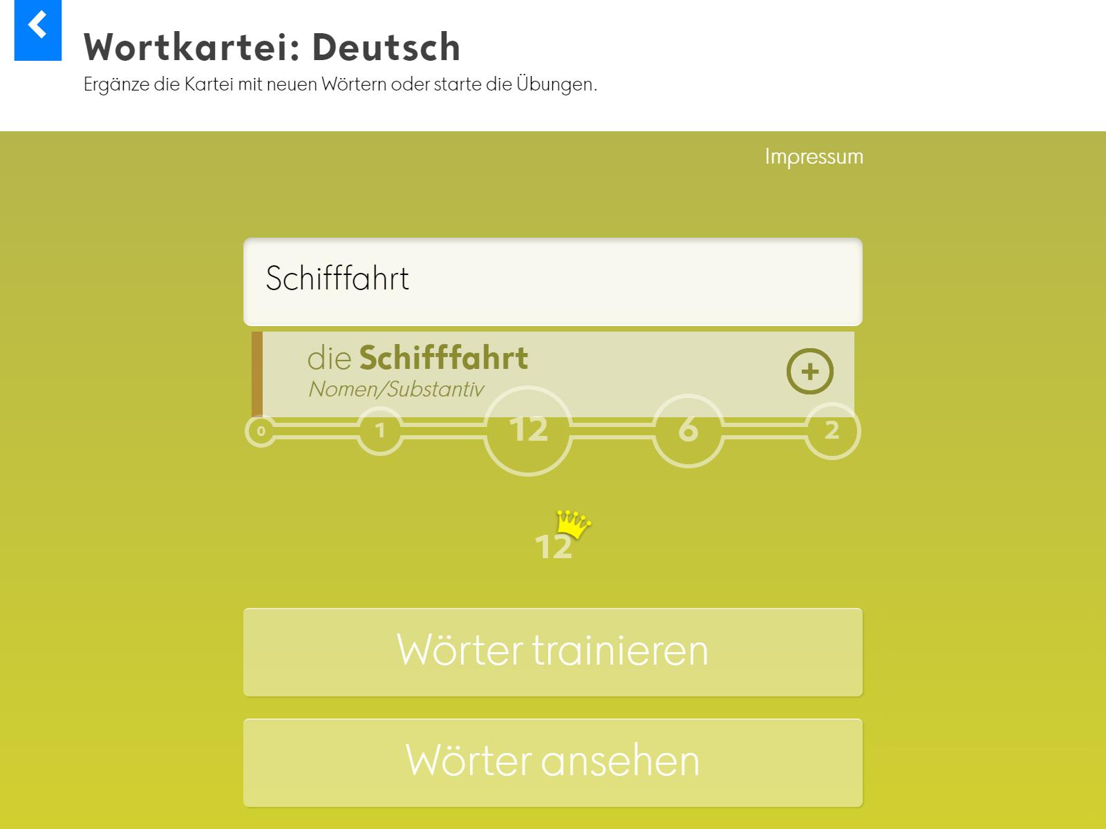 Wortkartei: Deutsch Background 1