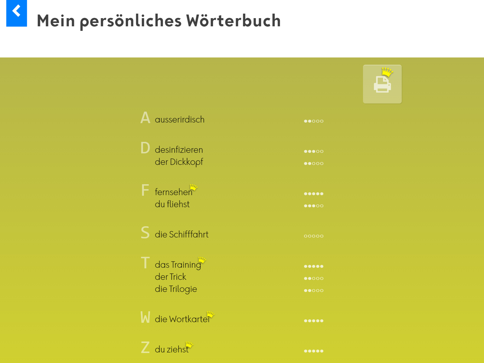 Wortkartei: Deutsch Screenshot 5